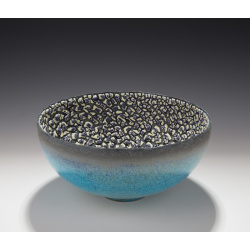 Mary Fox - Bowl, baking soda blue, purple, white crawl