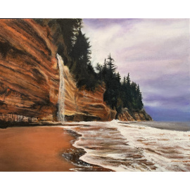 Maureen Ness - Mystic Beach Cliffs Shore