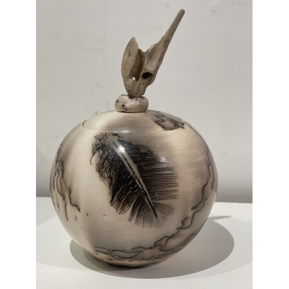 Jane Murray-Smith - Horsehair and Feather lidded jar