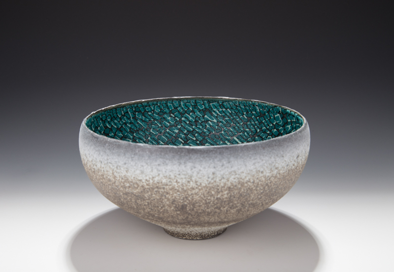 Mary Fox - Bowl, Baking soda blue, green, white crawl